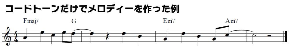 解説用楽譜:コードトーンだけでメロディーを作った例