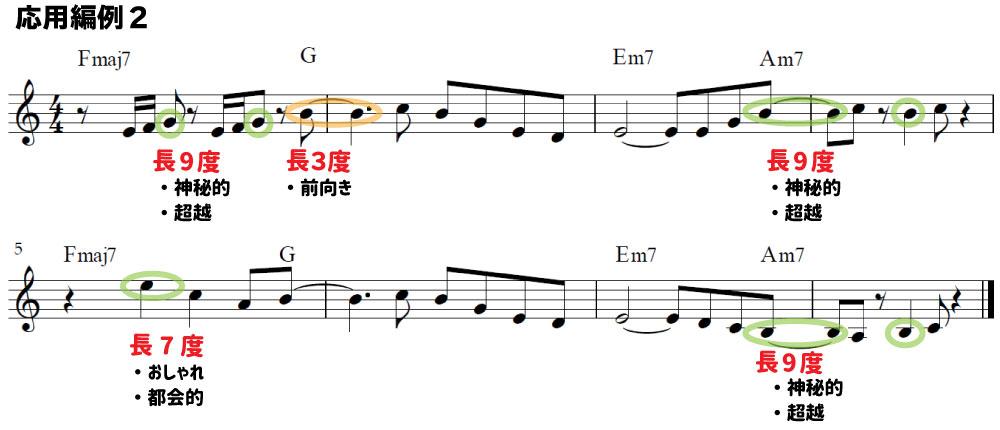 解説用楽譜:長9度を多用して、作曲した例