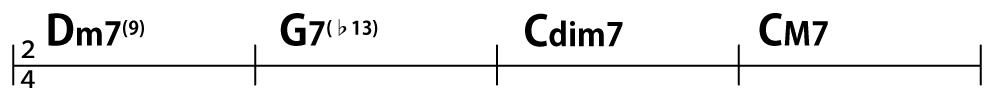 コード進行:Dm7(9)→G7(♭13)→Cdim7→CM7