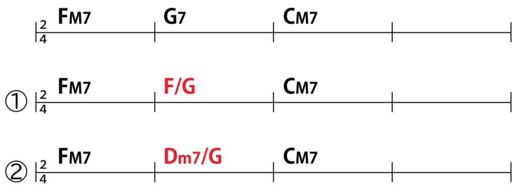 コード進行:FM7→G7→CM7、FM7→F/G→CM7、FM7→Dm7/G→CM7