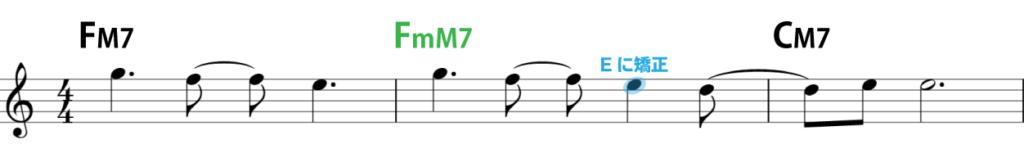 楽譜:Eに矯正し、歌いやすくした例
