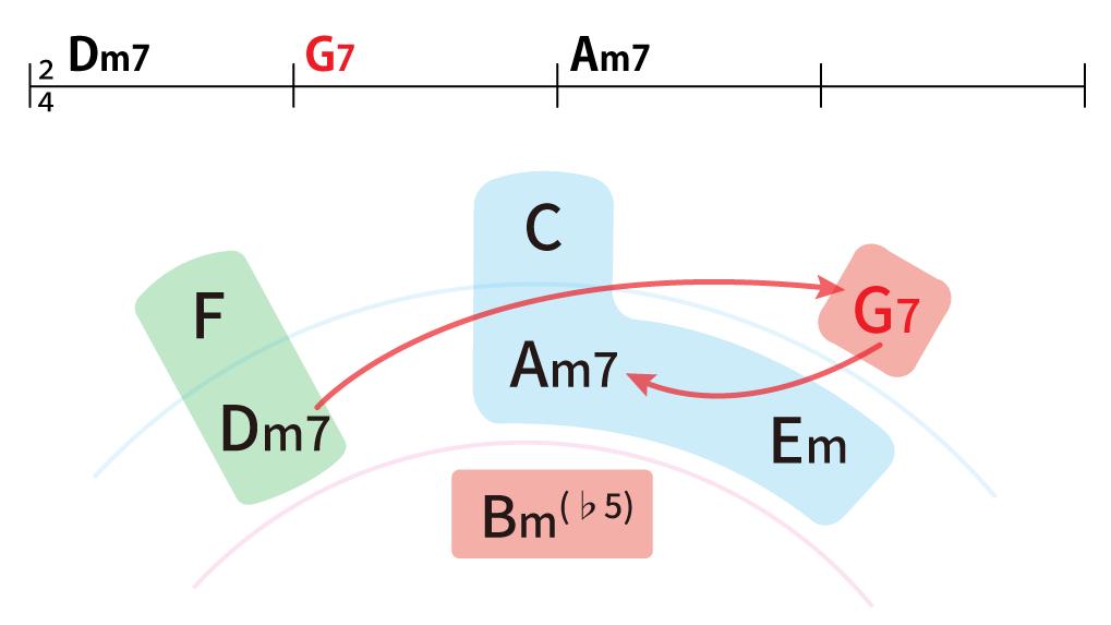 コード進行:Dm7→G7→Am7を五度圏表で解説。