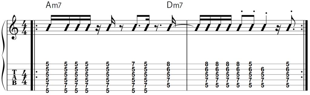 TAB譜:ファンク風:Am7→Dm7