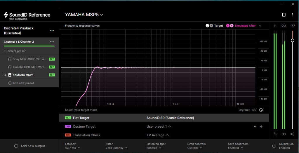 SoundID Reference補正画像:私の部屋のモニタースピーカーを補正した場合